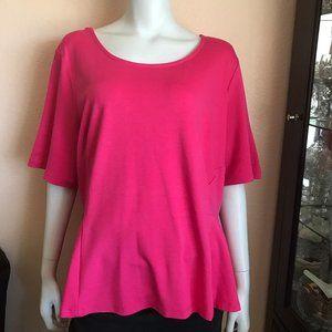 Eloquii Pink Short Sleeve Peplum Top Blouse Sz 22